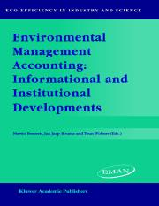 Environmental Management Accounting Informational and Institutional Developments (Eco-Efficiency in