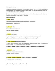 Interrogative words- Asking and answering questions notes