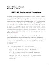 MATLAB Scripts and Functions