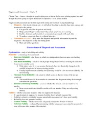 Diagnosis and Assessment Outline