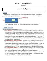 cs2110 2 Review 02 Data Types