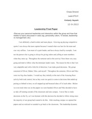 LEAD 275 - History & Theories of Leaders - Final Paper