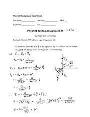 Physics 102 Assignment #1