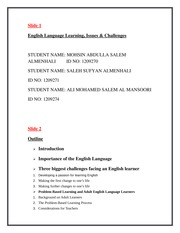 English Language Learning ,Issues & Challenges1
