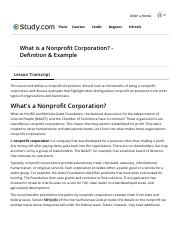 What is a Nonprofit Corporation? - Definition & Example - Video & Lesson Transcr.pdf