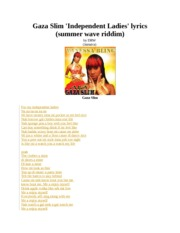 Gaza Slim 'Independent Ladies' lyrics