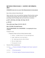 REVIEW FOR EXAM 2 – GEOSCI 103 SPRING 2013