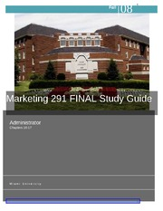 MKT 291- Final Exam Study Guide