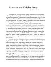 Samurai and knights essay popular personal statement ghostwriting website for school