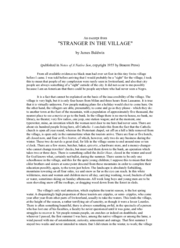 Stranger in the village essay analysis