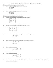 Unit 3 - Systems of Equations and Matrices - Discussion Board Problems