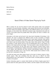 social effect of video game playing by youth