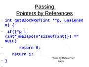 Passing Pointers