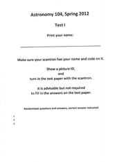 Test 1 Sample Exam