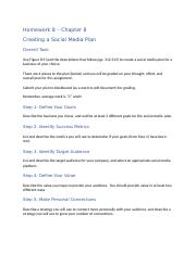 Homework 8 - Chapter 8 - Social Media Plan