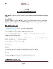 lab 3 microprocessor docx - FEST Lab 03 MASM and Simple