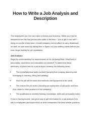 How to Write a Job Analysis and Description