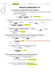 Molarity Worksheet Answers Chemistry - Promotiontablecovers