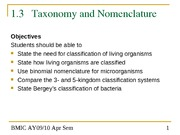 Topic 1.3 The Microbial World - Taxonomy and Nomenclature