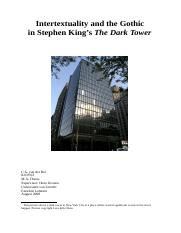 0219703, C.G. van der Bel, Scriptie, Intertextuality and the Gothic in Stephen King's The Dark Tower