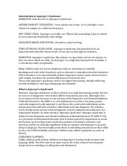 sped introduction to persons autism spectrum 6 pages intro to aspergers transcript