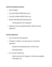 Cash Flow Statement Notes