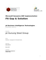 Fit & Gap Solution  for Inventory FG