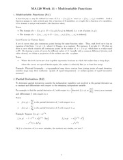 CHapter 11 - multivariable functions study guide
