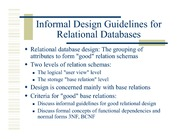 Ch14a Informal Design Guidelines For Relational Databases Relational Database Design The Grouping Of Attributes To Form Good Relation Schemas Two Course Hero