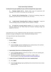 Marketing Project Interim Submission Guidelines- August 2014