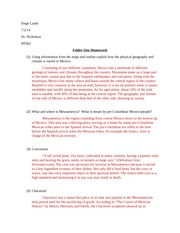 Folder One Homework: Geography and Pre-Columbian Mexico