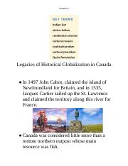 10-1 CH 7 Notes - Legacies of Historical Globalization in Canada.docx