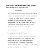 Notes on Institutional Arrangements for Global Economic Management