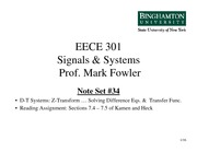 EECE 301 Note Set 34 DT Using ZT to Solve