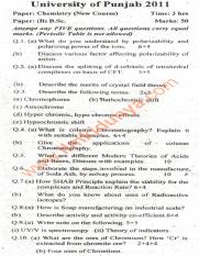 Past Papers 2011 Punjab University BA BSc Chemistry Paper B