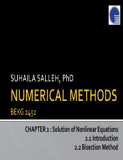 Chapter2 BEKG2452 2.1 2.2 Solution of Nonlinear Equations_Introduction  Bisection Method