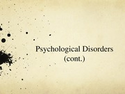 Lecture 38SV- Psychological Disorders (cont)