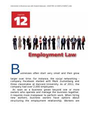 Introduction to Business Law with Student Manaual  CHAPTER 12 EMPLOYMENT LAW.docx