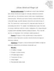 Calcium Chloride and Vinegar Lab Report