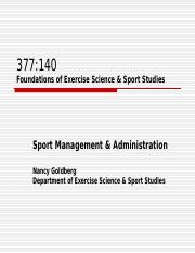 Foundations Sport Management lecture 3