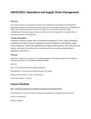 Operations and Supply Management December 2009 Detailed Course Schedule 2