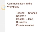 Chapter 1-Communication in the Workplace