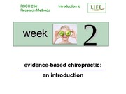 RSCH 2501 Week 2 Lecture Slides - Evidence-Based Chiropractic