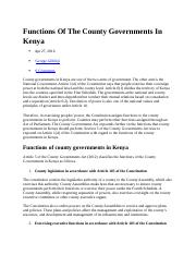 Functions Of The County Governments In Kenya