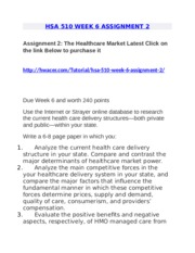 hsa 510 healthcare market Hsa 510 assignment 2: the healthcare market click above link to get this a graded assignment for more information visit our website : let us know if we can assist you with any thing else.