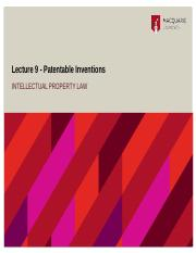 Lecture 9 - Patentable Inventions.pptx