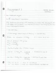 Chemistry Assignment 1