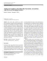 Adolescent Grandiose and Vulnerable Narcissism- Associations with Perceived Parenting Practices.pdf