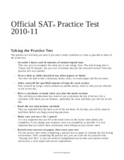Official SAT 2010-2011 Practice Test