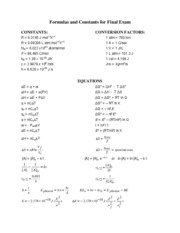 Formulas and Constants for FINAL